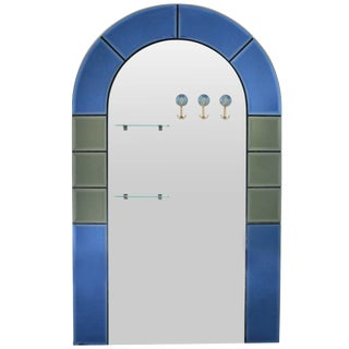 Large Floor Standing Hall Mirror with Coat Hooks For Sale