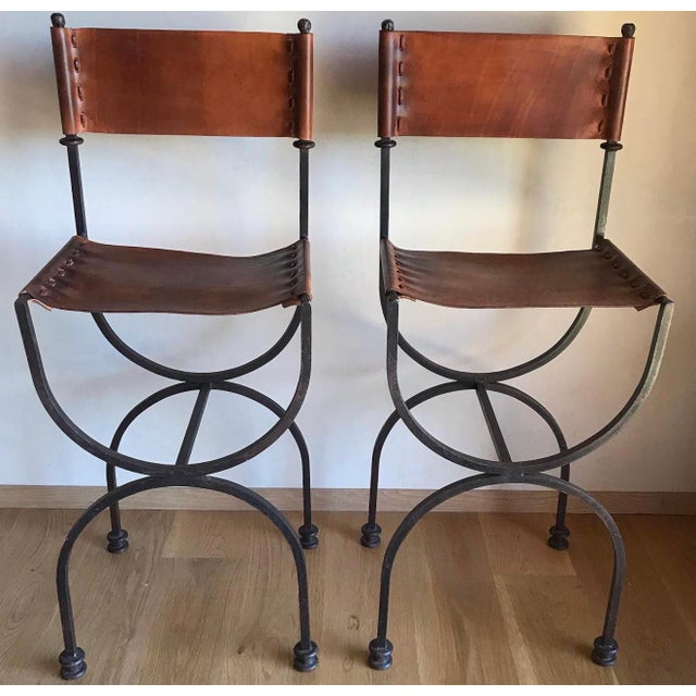 Rare Vintage Restored Hand Forged Solid Iron Campaign Safari Spanish Saddle Leather Rustic Neoclassical Bar Stools - a Pair For Sale - Image 13 of 13