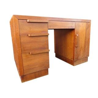 1940s Art Deco Style Walnut Pedestal Desk For Sale