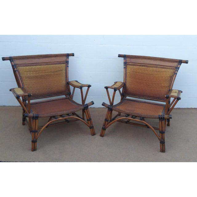Asian Style Mandalay Rattan Club Chairs by Marge Carson With Rawhide Accent Bindings and Metal Accent Caps - a Pair For Sale - Image 12 of 12