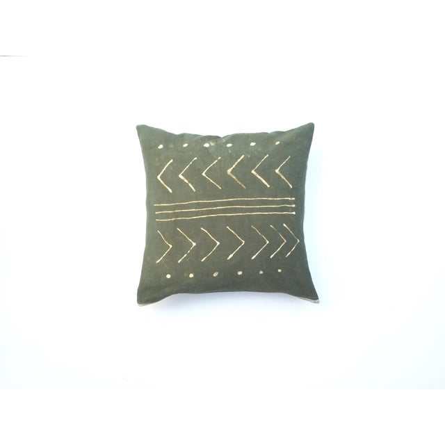 Hand-Dyed Dark Green Tribal Pillow Cover - Image 2 of 5