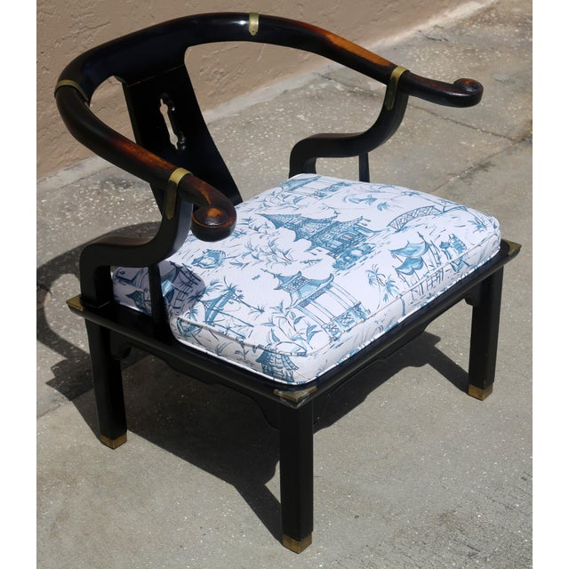 Black Vintage James Mont Black Lacquer Ming Chair For Sale - Image 8 of 13