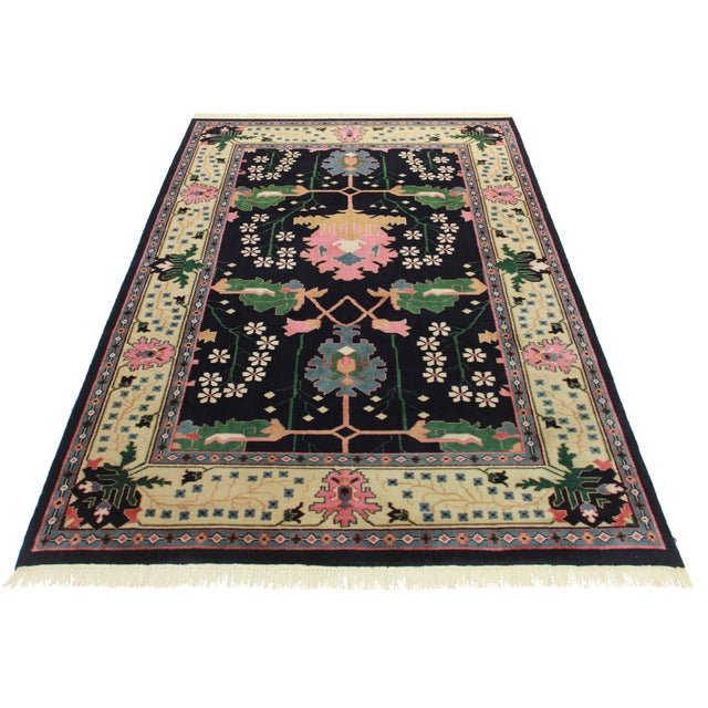 """RugsinDallas Hand Knotted Wool Indian Rug - 6' X 8'6"""" - Image 2 of 2"""