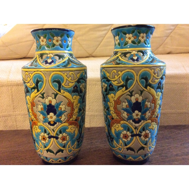 Paint 19th Century French Enameled Longwy Vases - a Pair For Sale - Image 7 of 12