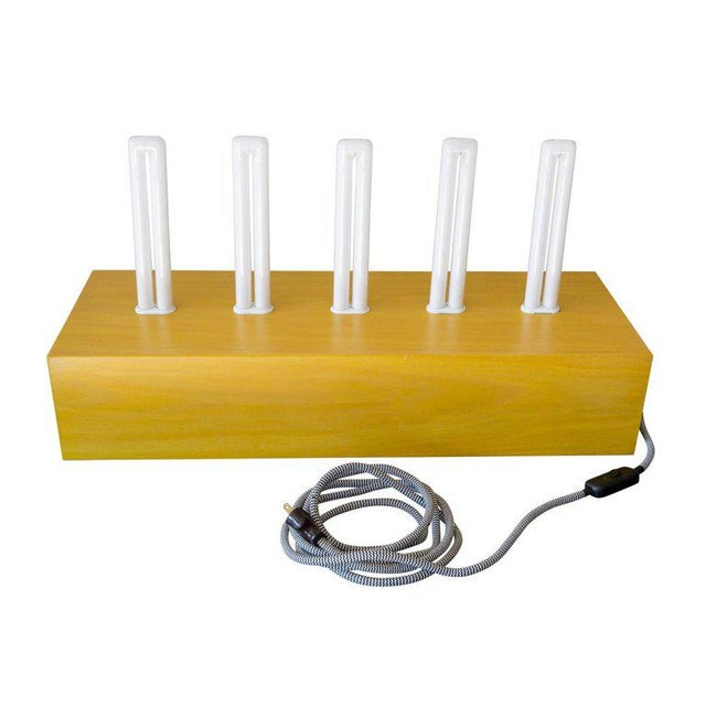 """Memphis Group Ettore Sottsass """"Pattica"""" Yellow Maple Table Lamp For Sale - Image 4 of 11"""