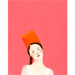 """""""Portrait of a Woman Wearing an Orange Paper Crown"""" Contemporary Gouache Painting by Alexandra Swistak For Sale"""