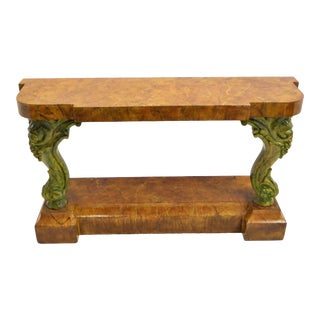1980s Modern Console With Faux Marble Finish and Victorian Rococo Legs For Sale