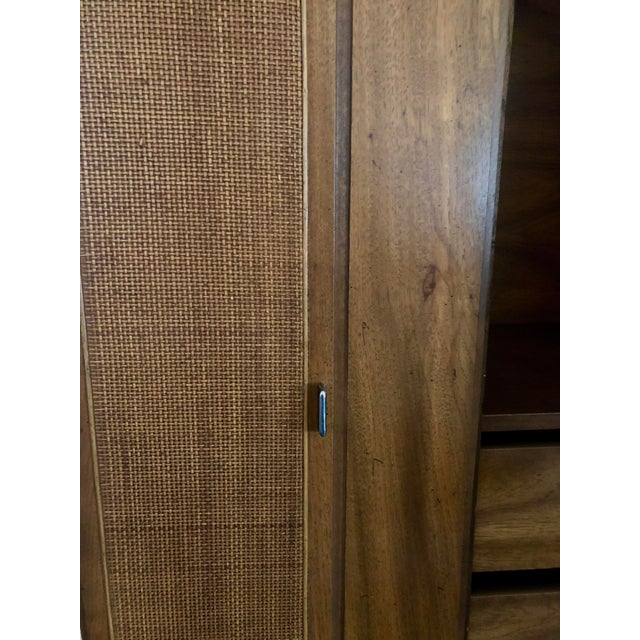 1960s American Classical Walnut Armoire and Hutch For Sale - Image 4 of 9
