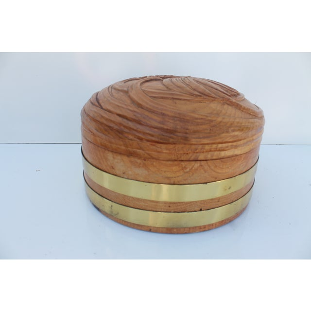 Round Hand-Carved Wood & Brass Box - Image 4 of 8