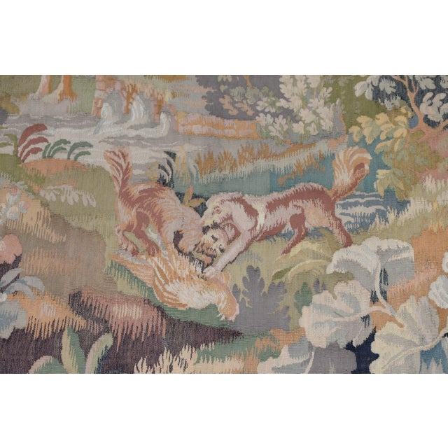 Textile Fine Antique European Tapestry Depicting a Country Scene With Dogs For Sale - Image 7 of 13