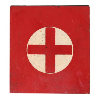 Vintage Wooden First Aid Box For Sale