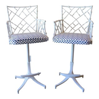 Phyllis Morris Mid-Century Faux Bamboo Bar Stools - a Pair For Sale