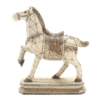 Sheeted Bone Tile Horse Sculpture Statue For Sale