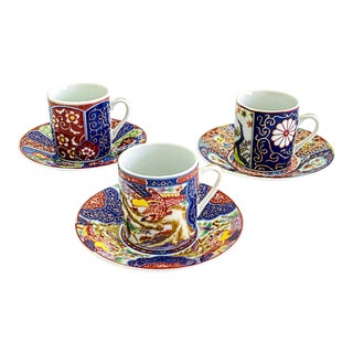 Vintage Chinoiserie Imari Espresso Set Porcelain From Japan 3 Sets Cup and Saucer - 6 Pieces For Sale