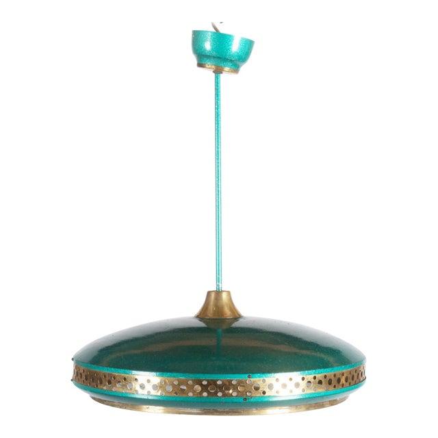 Mid-Century Brass & Steel Pendant Lamp, 1960s For Sale