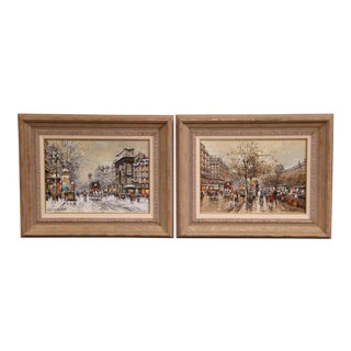 Pair of Framed Oil on Canvas Parisian Street Scenes Signed Antoine Blanchard For Sale