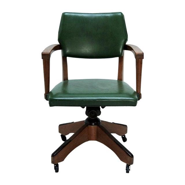 Mid Century Swivel Desk Chair in Green For Sale