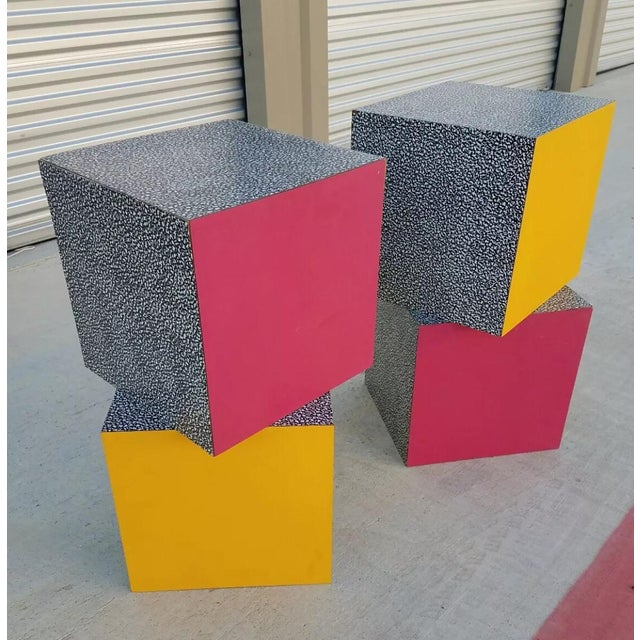 1980s Memphis Ettore Sottsass for Anthologie Quartetto Cube Table For Sale - Image 10 of 12