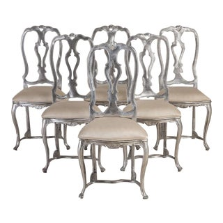 A Set of Six Rococo Style Polished Aluminium Chairs 1960s For Sale