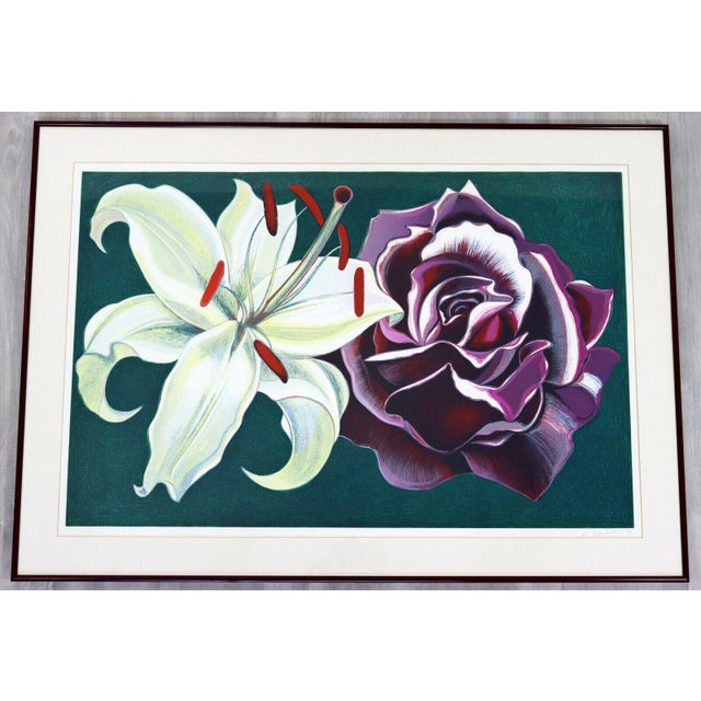 Lithograph 1970s Mid Century Modern Framed Lowell Nesbitt Hand Signed Lithograph Lily & Rose For Sale - Image 7 of 7