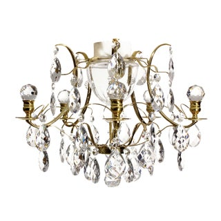 Bathroom Chandelier - Baroque Brass & Almond Crystal Chandelier