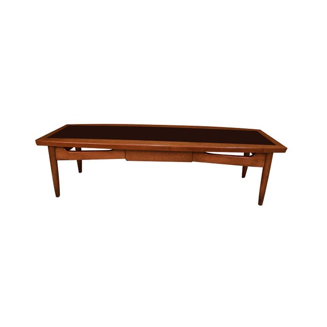 Mid Century Modern Surfboard Coffee Table American of Martinsville Dania Collection Walnut Black Laminate For Sale - Image 11 of 11