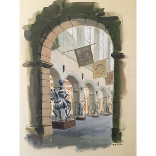 Museum Archway, Armor Collection Watercolor by Broder For Sale