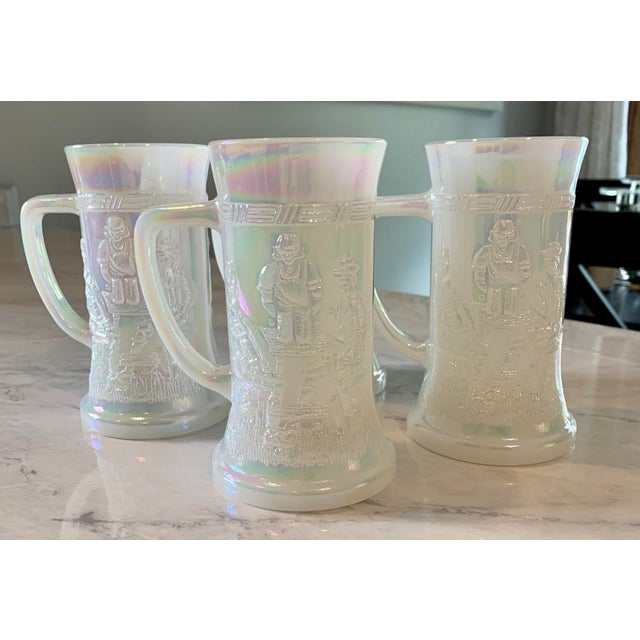 Glass Mid-Century Fenton Federal Iridescent White Carnival Glass Tavern Scene Stein/Mug - Set of 4 For Sale - Image 7 of 9