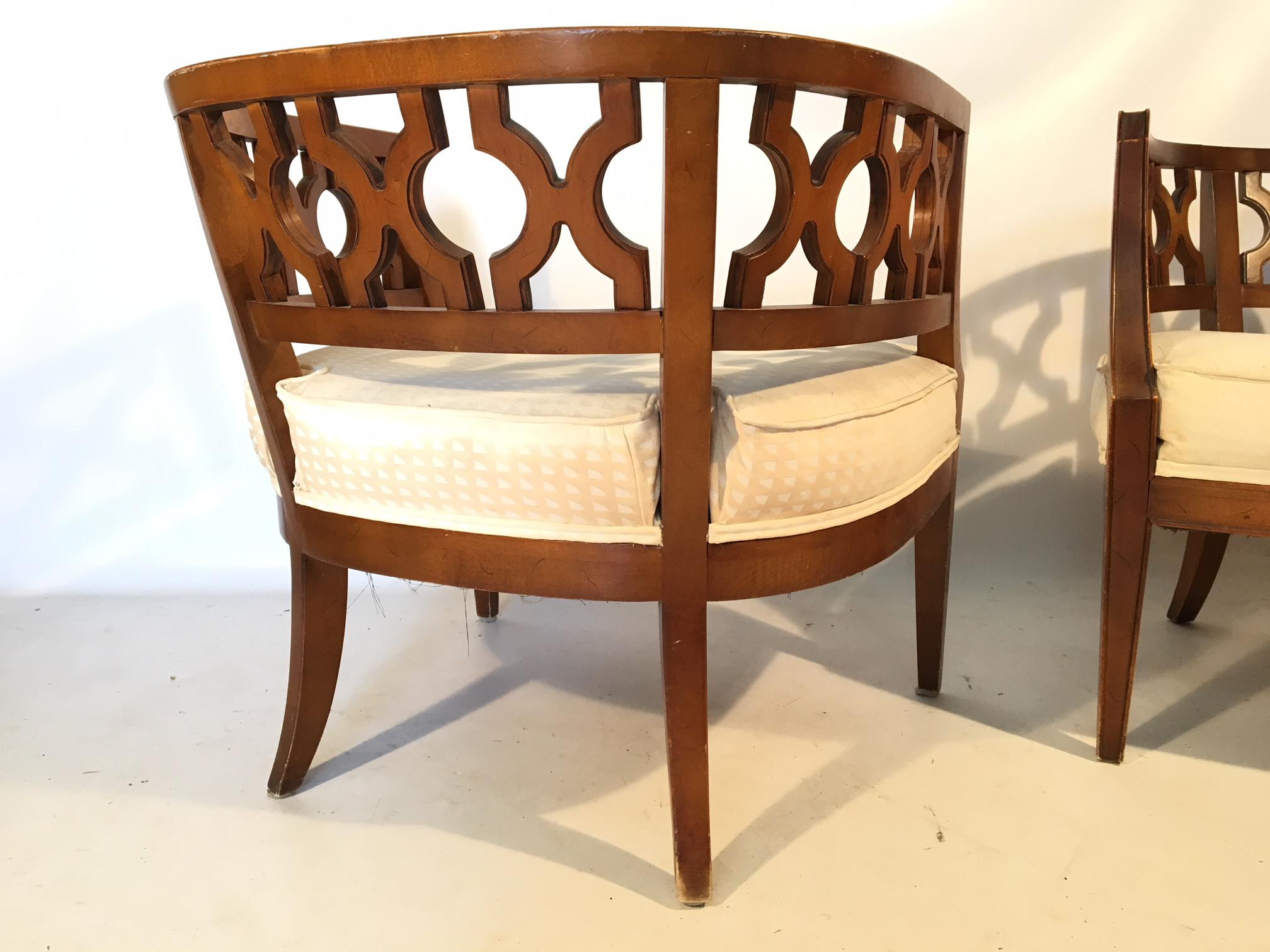 Hollywood Regency Hollywood Regency Carved Barrel Chairs After Dorothy  Draper   A Pair For Sale