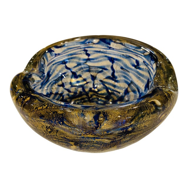 Mid-Century Modern Blue and Gold Swirl Ashtray Bowl For Sale