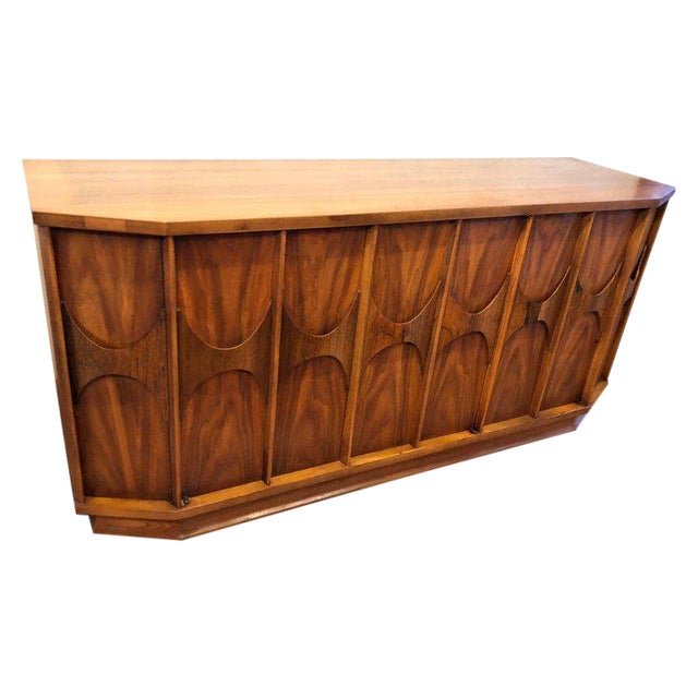 Mid-Century Modern Brutalist Credenza Kent Coffey Style For Sale