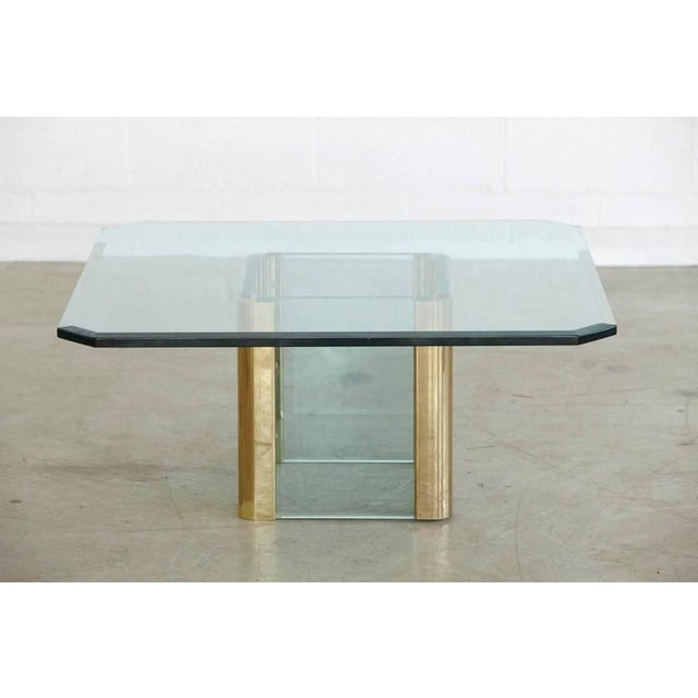 Brass Coffee Table with an Octagonal Beveled Glass Top by Leon Rosen for Pace - Image 3 of 9