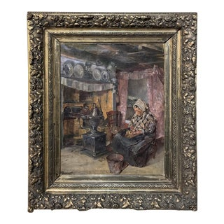 Framed Oil Painting on Canvas by Heeremans, Dated 1912 For Sale
