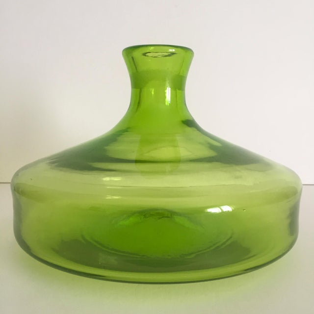 Vintage Blenko Mid-Century Chartreuse Handmade Glass Vase - Image 2 of 11