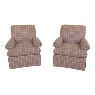 Calico Corners Plaid Print Upholstered Club Chairs - a Pair