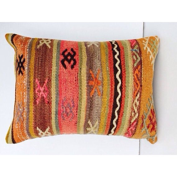 Turkish Orange & Tan Striped Kilim Pillow - Image 7 of 7