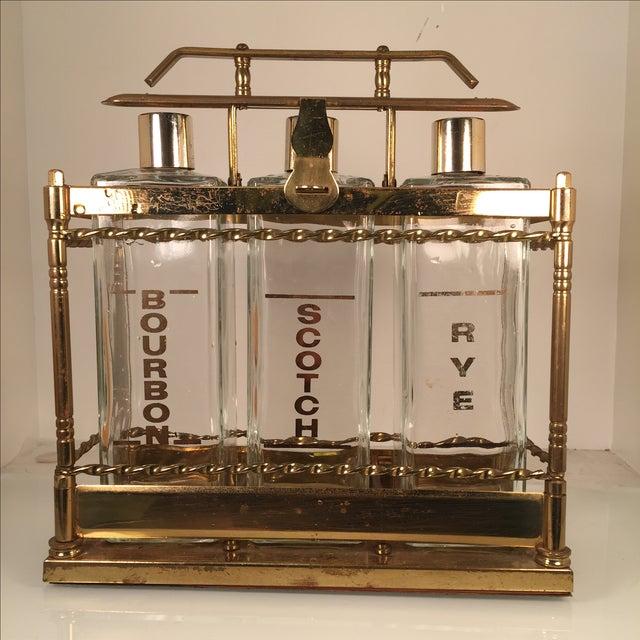 Bourbon Scotch Rye Bar Caddy Liquor Decanters - Image 2 of 6