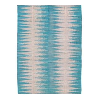 Keivan Woven Arts, Orn-30216, Teal and White Zig-Zag Stripe Afghan Kilim Rug - 8′3″ × 11′1″ For Sale