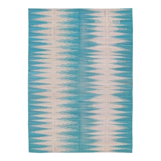 Teal and White Zig-Zag Stripe Afghan Kilim Rug - 8′3″ × 11′1″ For Sale