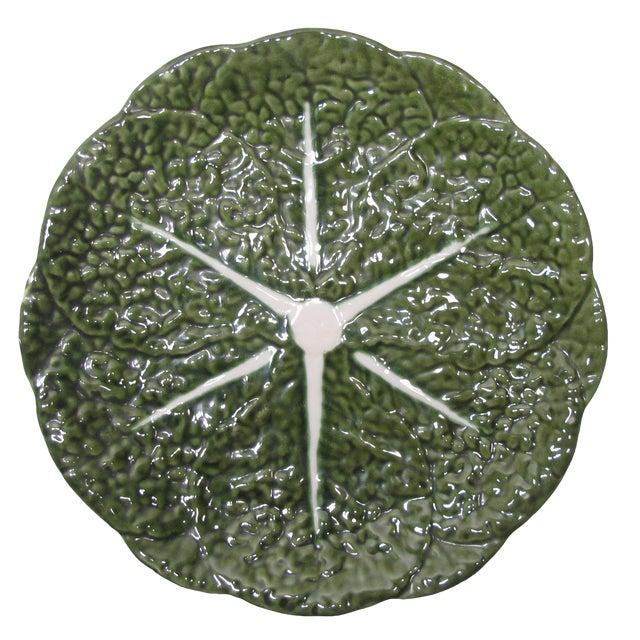 Portuguese Majolica Cabbage Leaf Platter For Sale