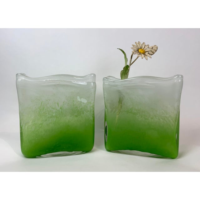 Henry Dean Rectangular Glass Vases - a Pair For Sale - Image 11 of 13