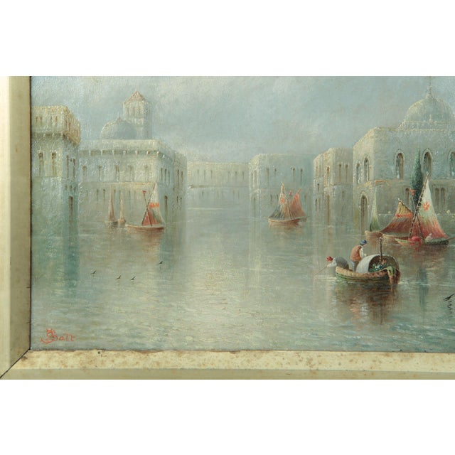 British Grand Canal Venice Antique Oil Paintings by James Salt - a Pair For Sale - Image 5 of 11