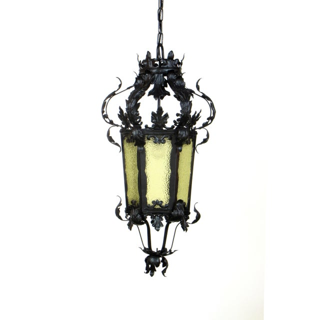 Late 19th Century Restored 19th Century Black Wrought Iron Lantern With Textured Amber Glass For Sale - Image 5 of 5