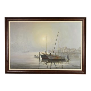 David Forbis Oil Painting Waving Goodbye Sailboats in Morning Mist For Sale