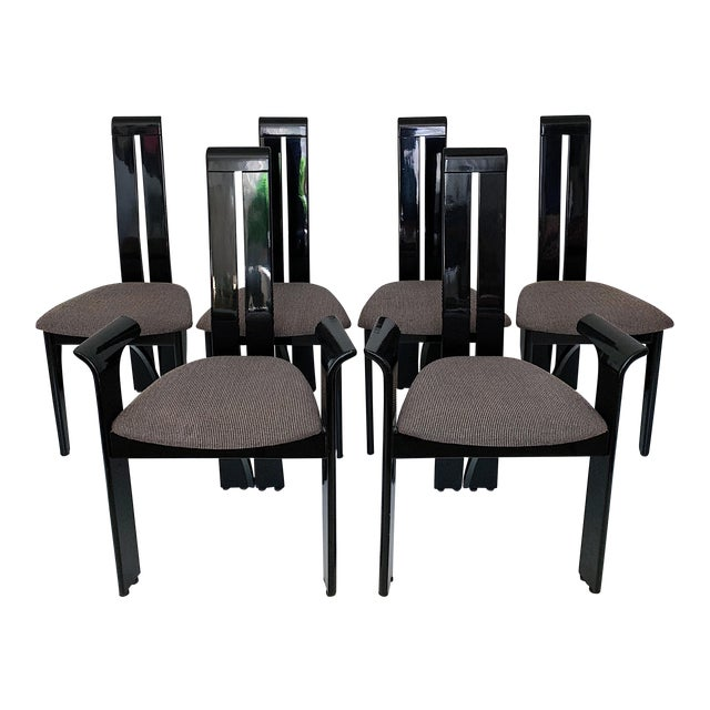 1990s Vintage Italian Pietro Costantini High Back Black Lacquer Dining Chairs- Set of 6 For Sale