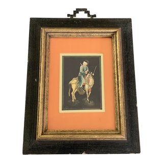 Vintage Asian Warrior on Horseback Framed Art For Sale