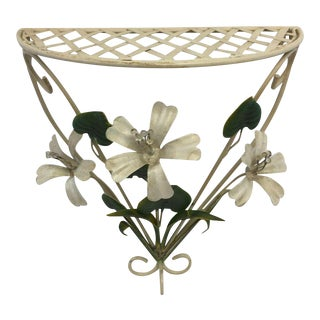 Vintage Italian Tole Flower Wall Shelf