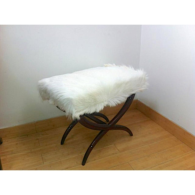 Jean Royere Goat Hair X-Shaped Stool.