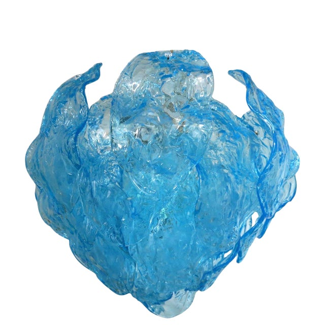 Italian Blue Murano Glass Leaves Chandelier by Mazzega For Sale