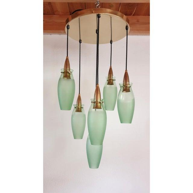 Arredoluce Italian Mid-Century Modern Brass & Glass Flush Mount, Arredoluce For Sale - Image 4 of 13